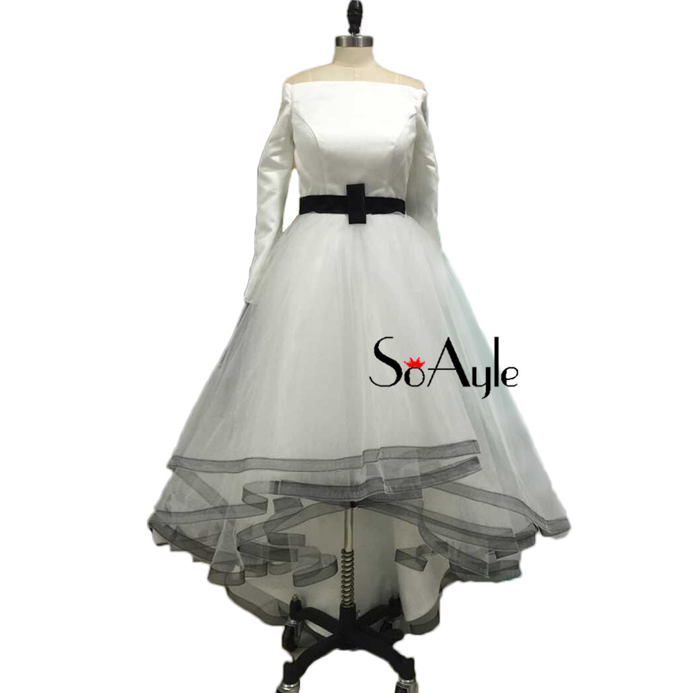 89d1c31f0596e SoAyle A Line Off the Shoulder Long Sleeves White Prom Dresses Ribbons  Ruffles Girls Graduate Dress High Low Tulle Dresses-in Prom Dresses from  Weddings ...