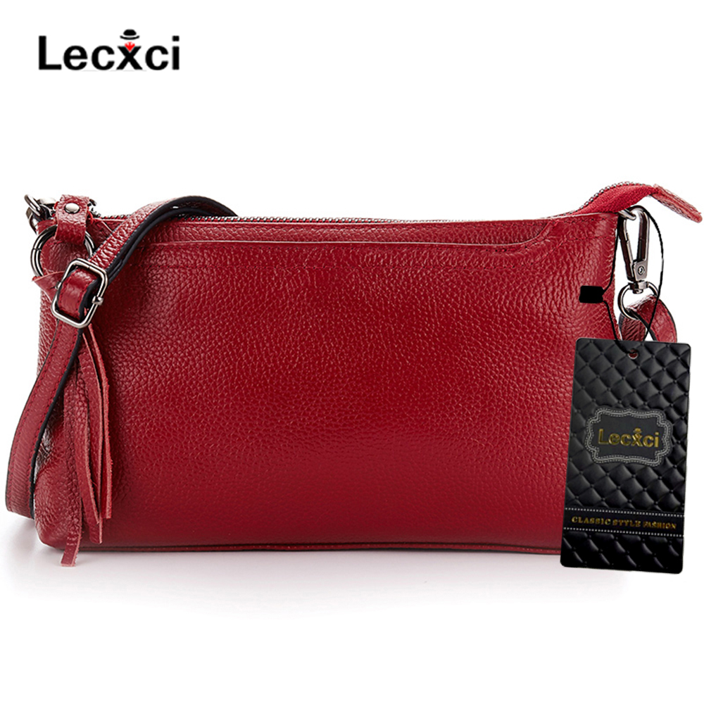 54a6fcf54ad Lecxci Women's Genuine Leather Shoulder Bag Small Zip Ladies ...