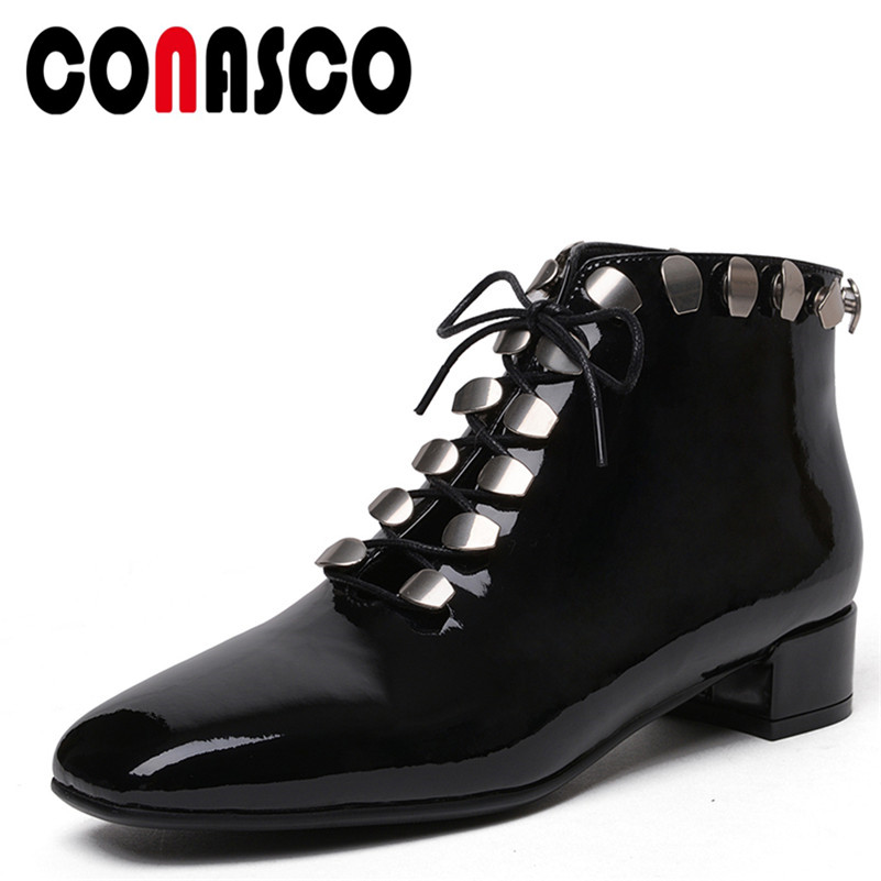 CONASCO 1New Arrival Women Ankle Boots Autumn Winter Warm Genuine Leather Square Heels Shoes Woman Cross-tied Brand Basic BootsCONASCO 1New Arrival Women Ankle Boots Autumn Winter Warm Genuine Leather Square Heels Shoes Woman Cross-tied Brand Basic Boots
