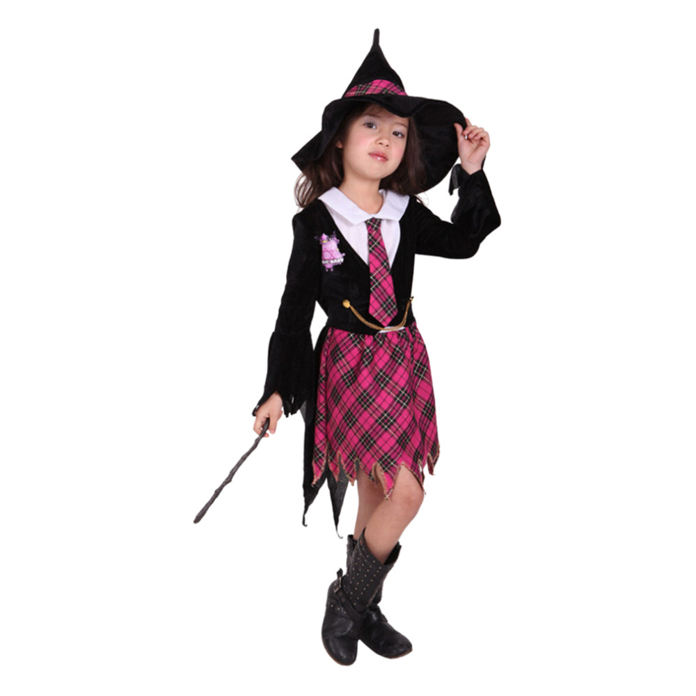 Girls College Wind Witch Costumes And Lattice Witch Hat Petal Sleeve ...