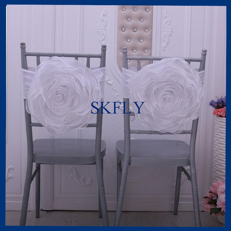 Ch091b Wunderschöne Maß Weiß Gelb Baby Rosa Licht Blau Große Organza Stuhl Blume Mit Spandex Band