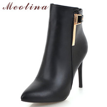 Meotina Winter Ankle Boots Women Zipper Stiletto Heel Short Buckle Super High Shoes Ladies Autumn Plus Size 43