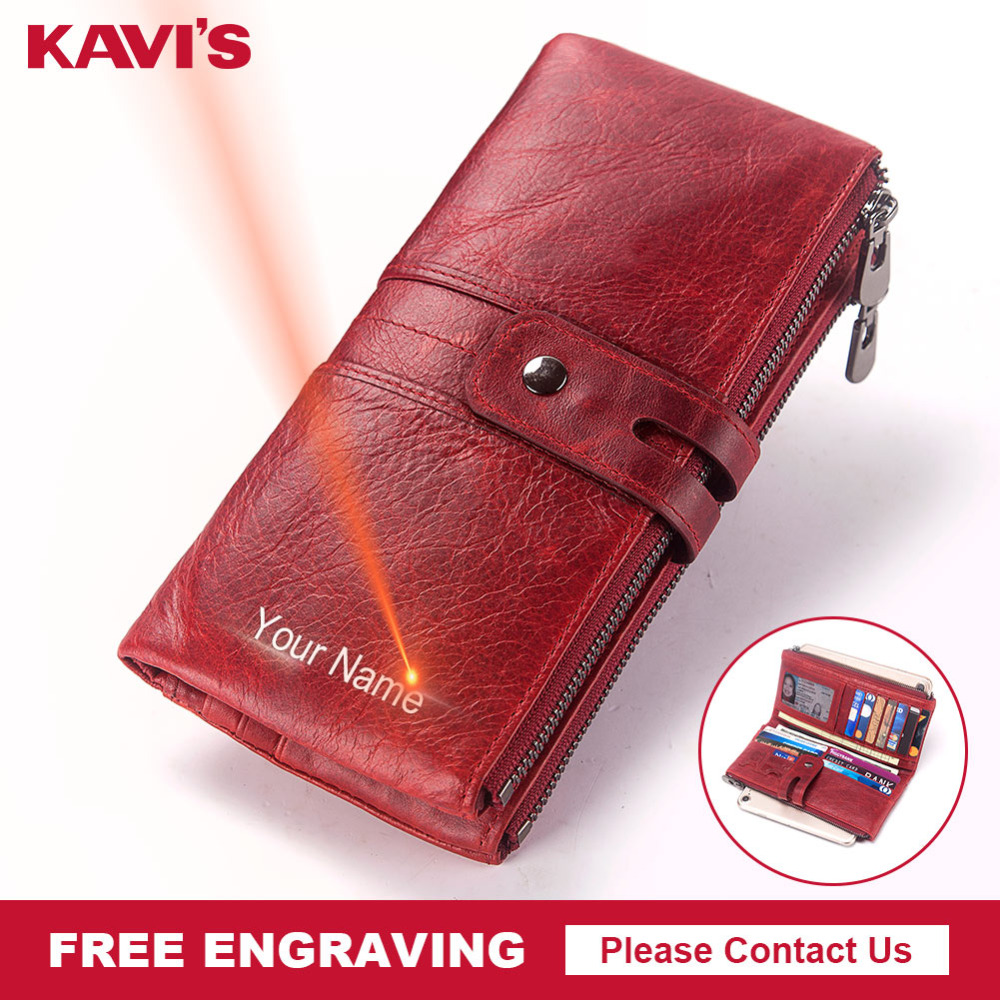 e0dc6d527d21 KAVIS Free Engraving Women Wallet Female Coin Purse Hasp Portomonee Clutch  Money Bag Lady Handy Card Holder Long for Girl Use