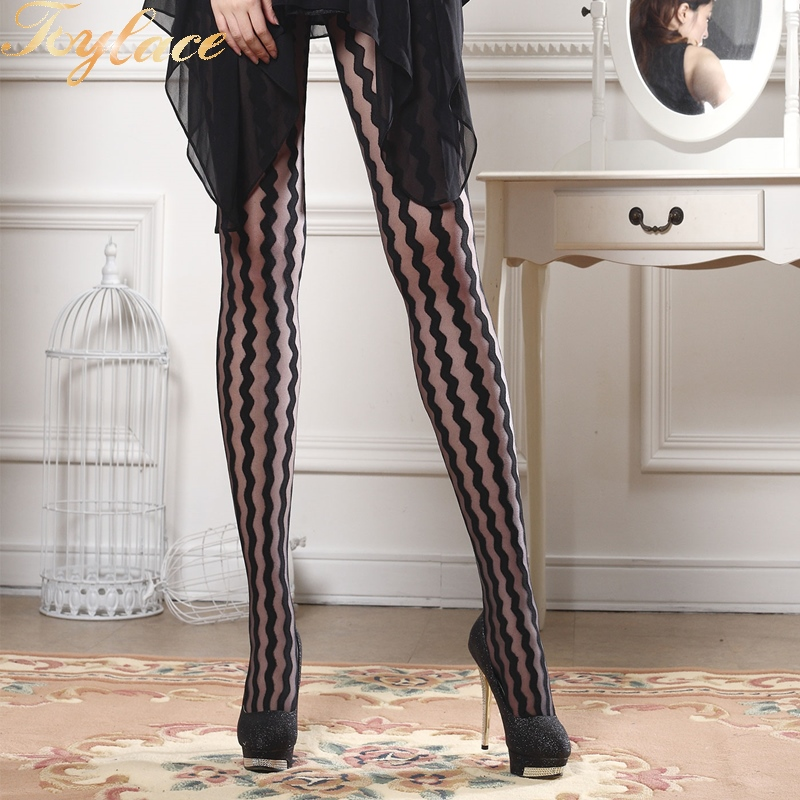 Toylace 2124 Wave Stripe Lady Fashion Black Tatoo Tights Sheer Pantyhose