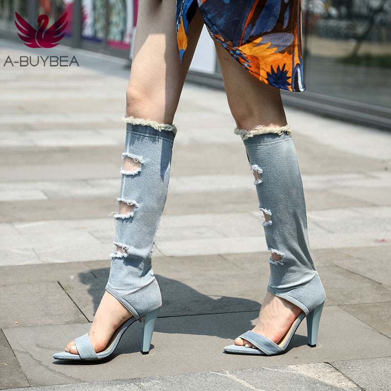 Été Super talons hauts Peep Toe Vintage femmes chaussures chaussures en Denim Sexy Botas Mujer genou-haut bottes longues gladiateur sandales chaussures