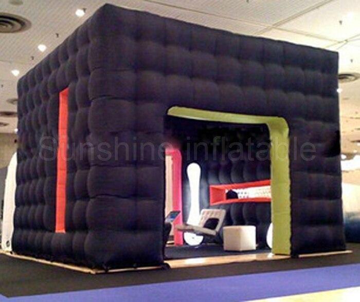 Kiosque gonflable de cabine de photo noire de tente gonflable géante de cube de meilleure vente avec la pompe pour des événements