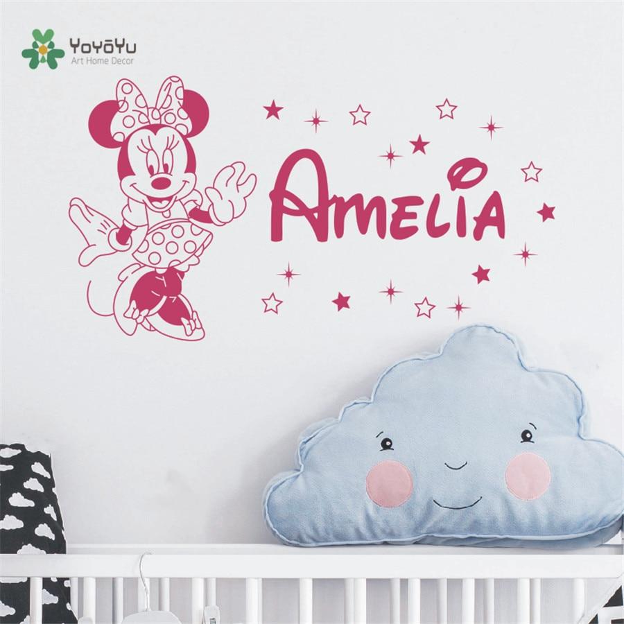 Minnie Personalisierte Mädchen Name Wandtattoo-Name Decals Baby ...