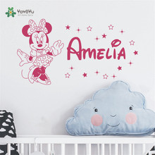 Minnie Personalized Girl Name Wall Decal - Custom Decals Baby Bedroom Nursery Room Home Decor Sticker YK-1