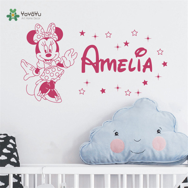 Minnie personalized girl name wall decal custom name decals baby girl bedroom wall decal nursery