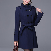 2019 Europe Elegant Slim Trench Coat Fashion Double Breasted Casual Tre