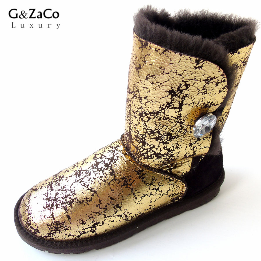 G&Zaco Women Natural Sheepskin Snow Boots Female Real Sheep Fur Button Mid Calf Natural Fur Boots Flat Wool Winter Sheep Shoes