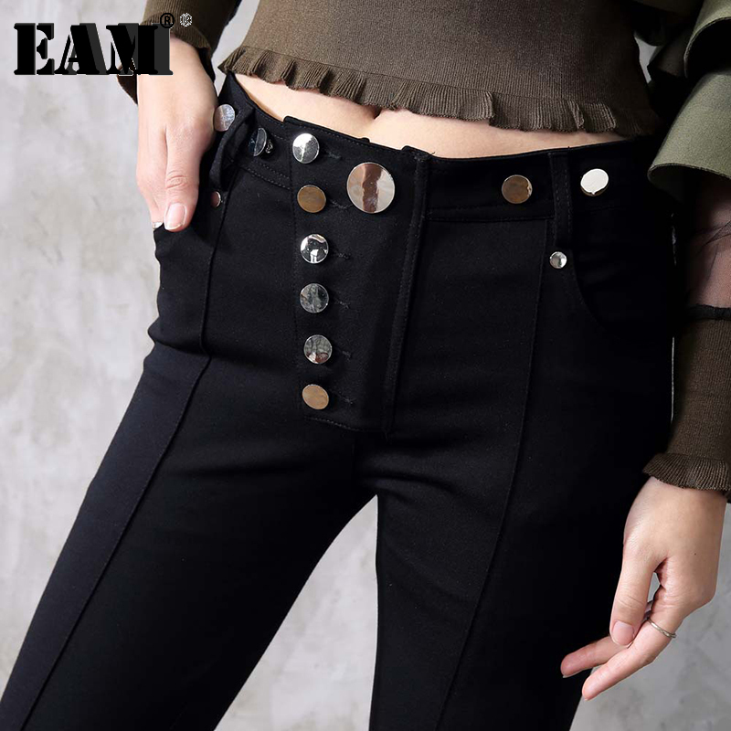 [EAM] 2020 New Spring  High Waist Solid Color Metal Nail Buckle Black Vent Long Pants Women Trousers Fashion Tide JC1720