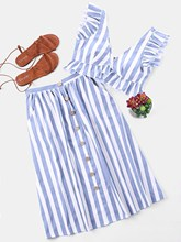 Casual Strip Tops and Skirts Two Piece Set V Neck Sleeveless Crop Top Striped Ruffle Button High Waist Skirts Suits Summer Sets цена 2017
