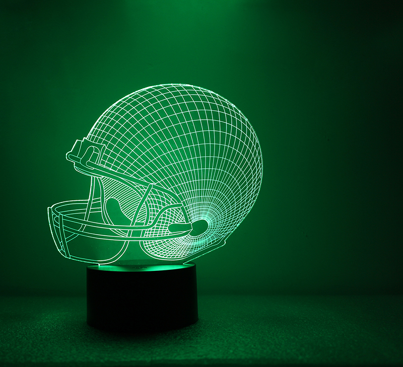 3D Table Lamp LED USB Night Light Novelty Visual Luminaria Football Lampara NightLight Helmet Sport Cap Lamp For Children Gift