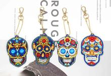 4/5Pcs DIY Full Special Shaped Diamond Painting Skull Keyring Keychains Unique Shining Drill Rhinestones Craft Gifts