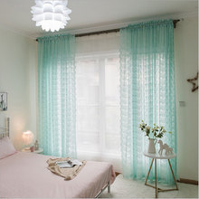 Lace Curtains Kitchen Window Rustic Home Decor White Sheer Curtains Flower Pattern long Tulle Drapes Single