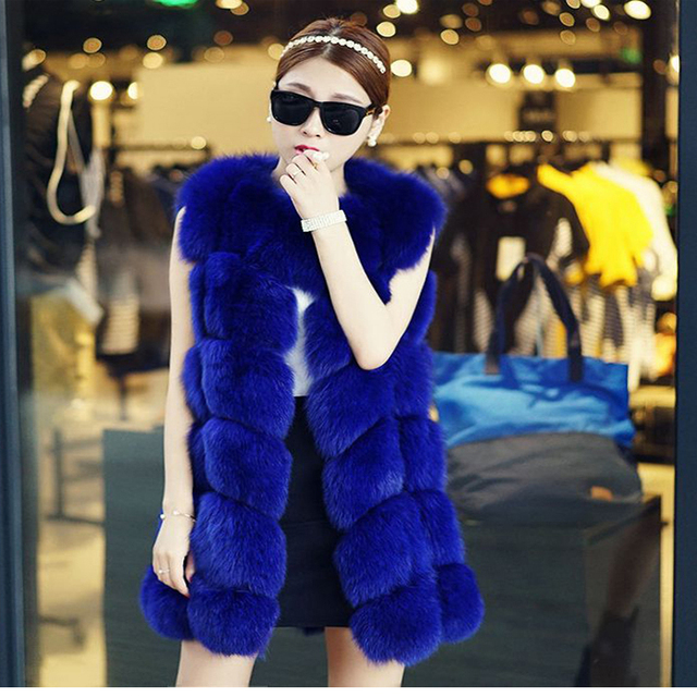 2016 NEW Genuine fox fur coat women's long Luxurious natural fox fur vest full leather waistcoat winter coat