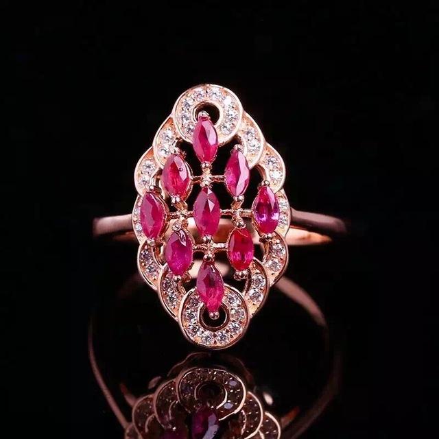 Genuina natural rubí anillo de Mujer Señora de La Joyería auténtica plata de ley 925 piedras preciosas anillos