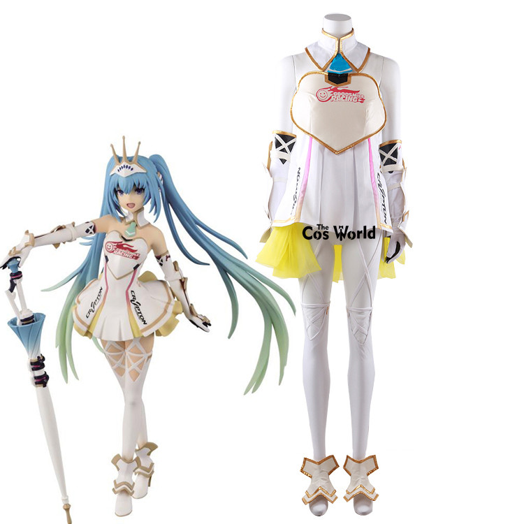 2015 Vocaloid Hatsune Miku Racing Suit Jumpsuits Tube Tops Tee Dress Uniform Outfit Anime Cosplay Costumes
