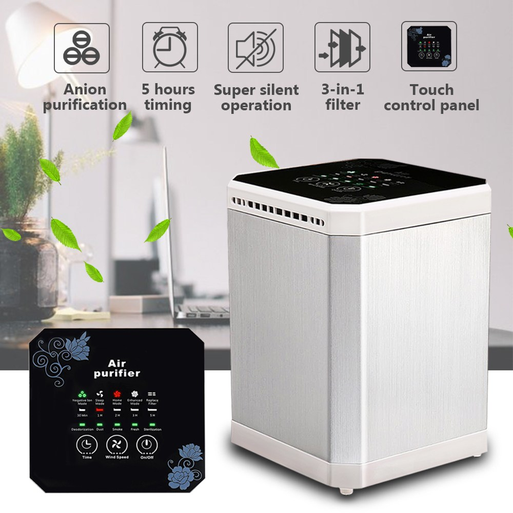 Ionizer Air Purifier Negative Ionizer Timing Quiet Activated Carbon Air Filter for Home Office Remove Formaldehyde