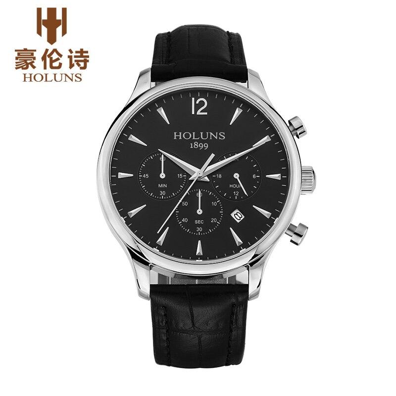 ФОТО HOLUNS JY003 Watch Geneva Brand Chronograph watches men's business casual large multi needle quartz watch thin relogio masculino