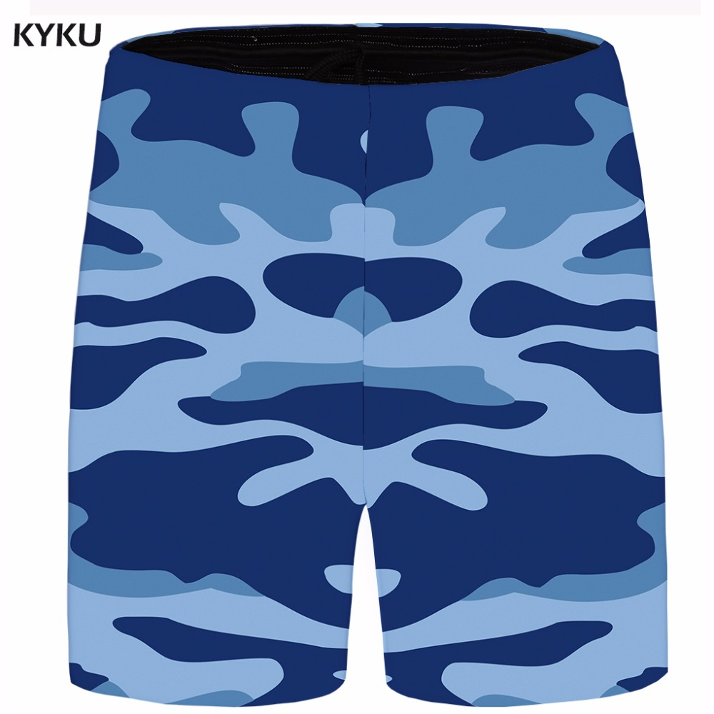 KYKU Brand Camo Short Men Military Cargo Shorts Beach Anime Fashion Casual Shorts Blue Mens Short 2018 New Summer Cool Big Size