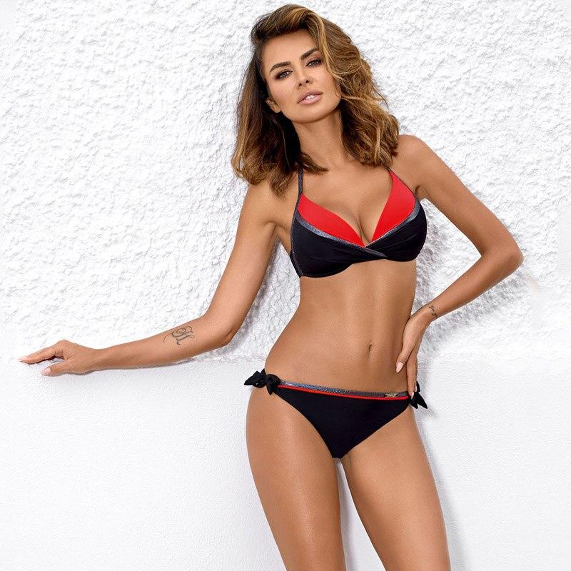 Snake Skin Splicing Backless Bandage Swimwear Sexy Bikini New Swimsuit Women Swimwear Bikini Set Push Up Swim Suit  Women