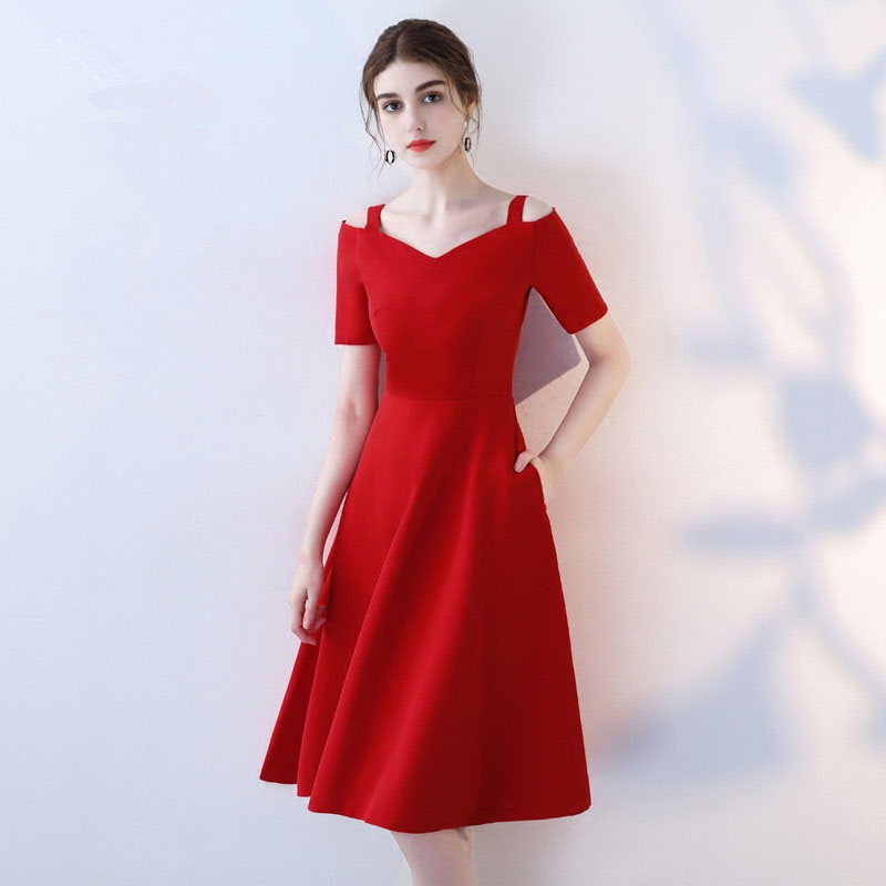One Shoulder Red Evening Party Gown Sexy Women   Cocktail     Dresses   A-line Vestidos De Festa Longo Exquisite Zipper Robe De Soiree