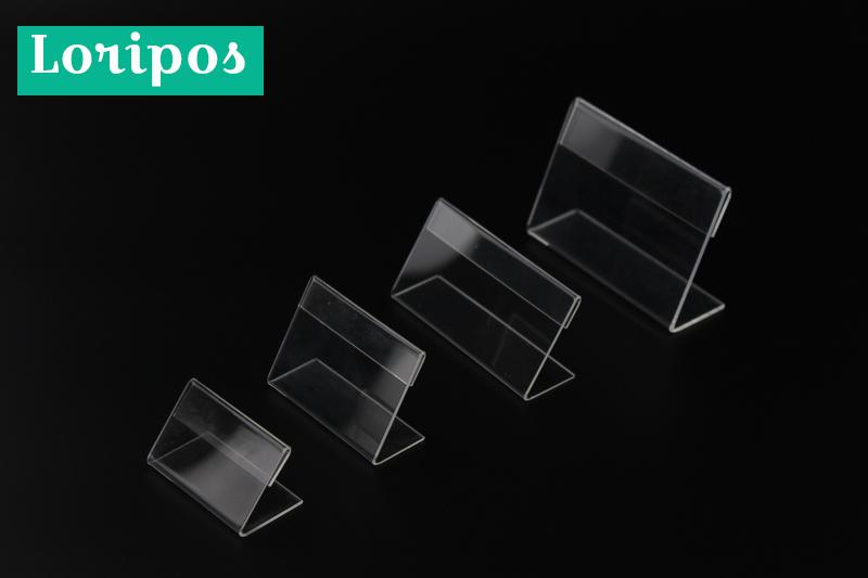 Acrylic T 1.3mm Clear Plastic Desk Sign Label Frame Price Tag Display Paper Card Holders Acrylic Label Holder Stand Frame 50pcs