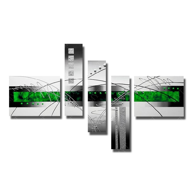 Abstract green color oil painting handpainted wall pictures for living room modern decoration canvas art 5