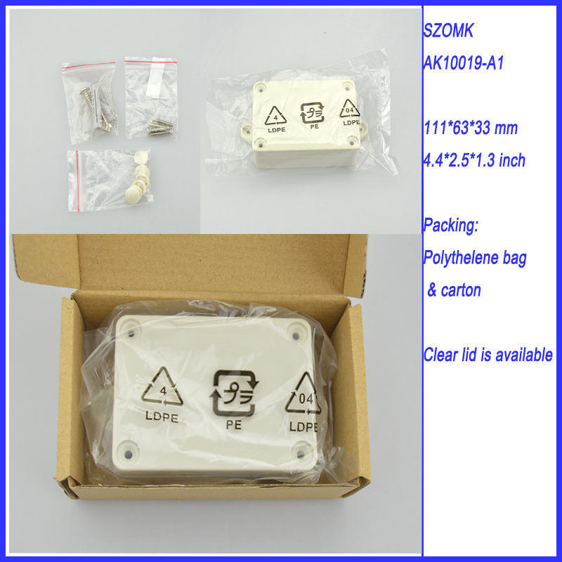 1 piece  abs material plastic IP68 waterproof enclosure junction box 111*63*33 mm 4.4*2.5*1.3 inch 1 piece high quality abs plastic junction box ip68 waterproof level circuit housing led power supply enclosure 238 84 60 mm