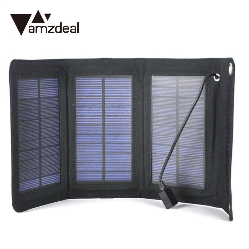 Computer & Office Amzdeal 5w 5v Foldable Solar Battery Charger Usb 2.0 Solar Power Panel Pack For Cellphone Black Charger Portable Panel Tablet Accessories