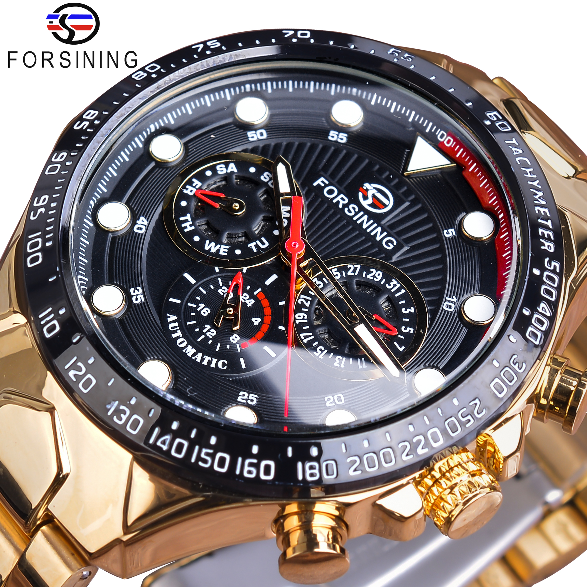 Forsining Automatic Self Wind Mechanical Male Watches Golden Steel Strap Calendar Display Classic High Quality Sport Watch ClockForsining Automatic Self Wind Mechanical Male Watches Golden Steel Strap Calendar Display Classic High Quality Sport Watch Clock
