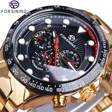 Forsining Automatic Self Wind Mechanical Male Watches Golden Steel Strap Calendar Display Classic High Quality Sport Watch Clock стоимость