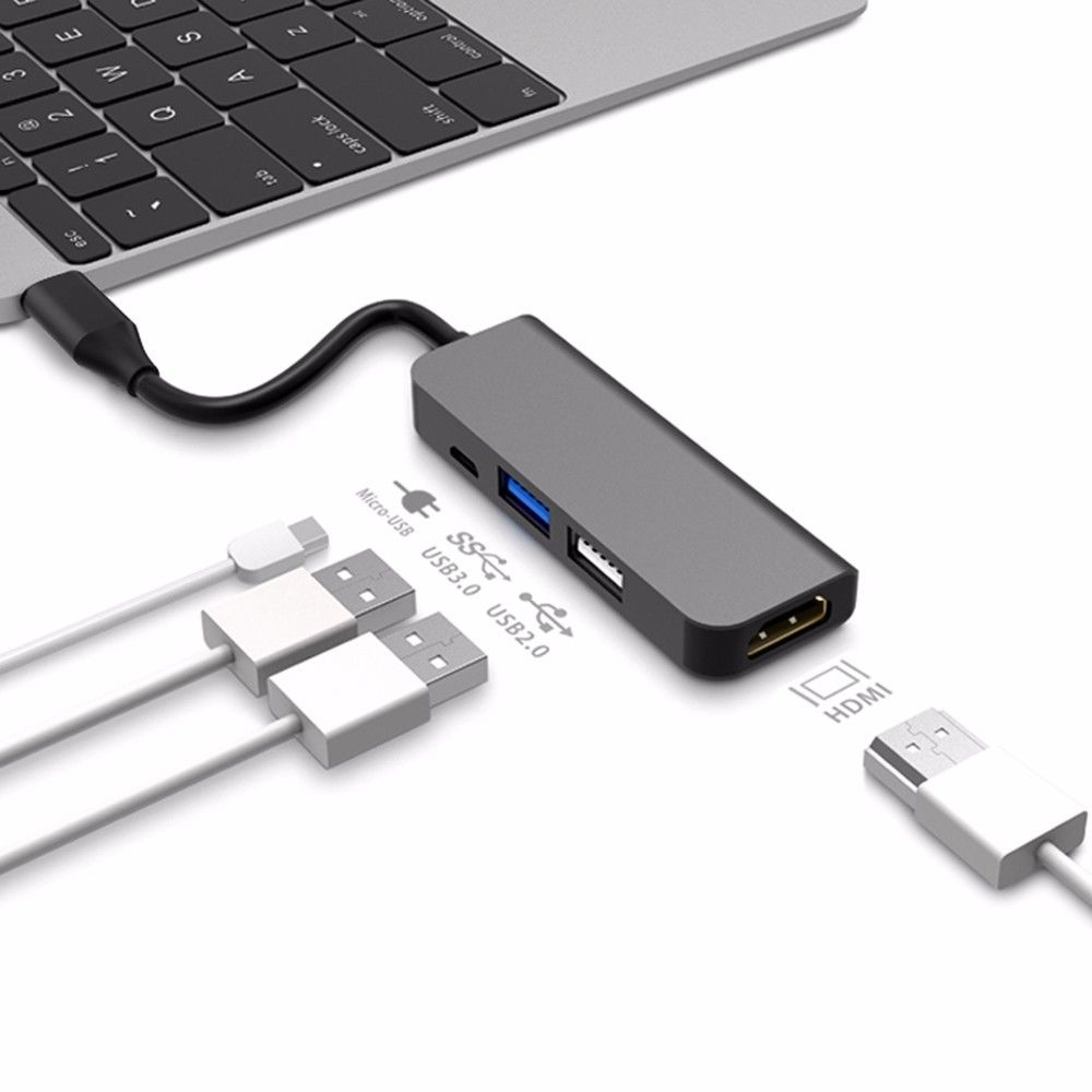 For MacBook Pro Samsung Galaxy S8 Huawei P20 Pro USB C HUB Type C To 4K HDMI Hub USB 3.0 USB2.0 Adapter Micro USB Charging Port