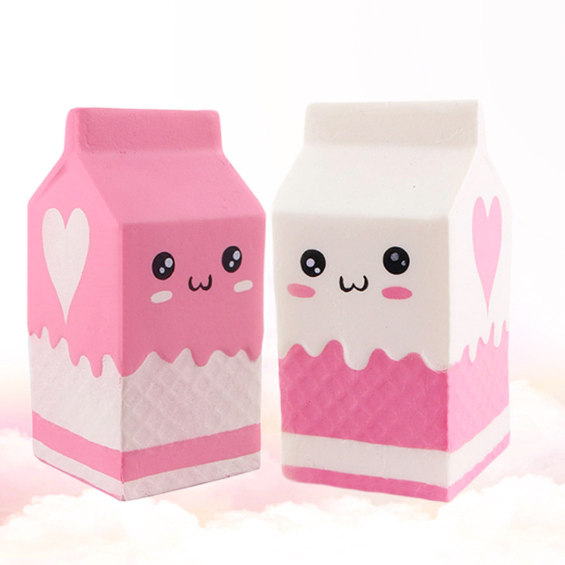Cute Funny Stress Soft Milk Box Squishies Hand Squeeze Carton Slow Soaring The Antistress Toy Kids Toy Gift Gags Practical WY107
