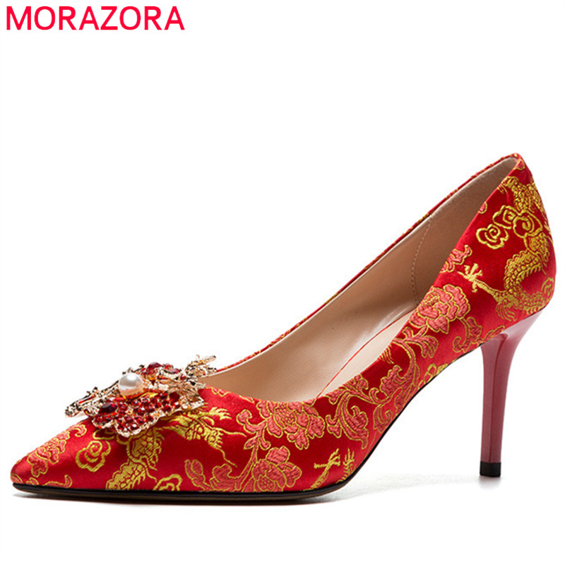 MORAZORA 2018 top quality pumps women shoes pointed toe spring summer shoes Chinese style elegant wedding shoes woman red MORAZORA 2018 top quality pumps women shoes pointed toe spring summer shoes Chinese style elegant wedding shoes woman red