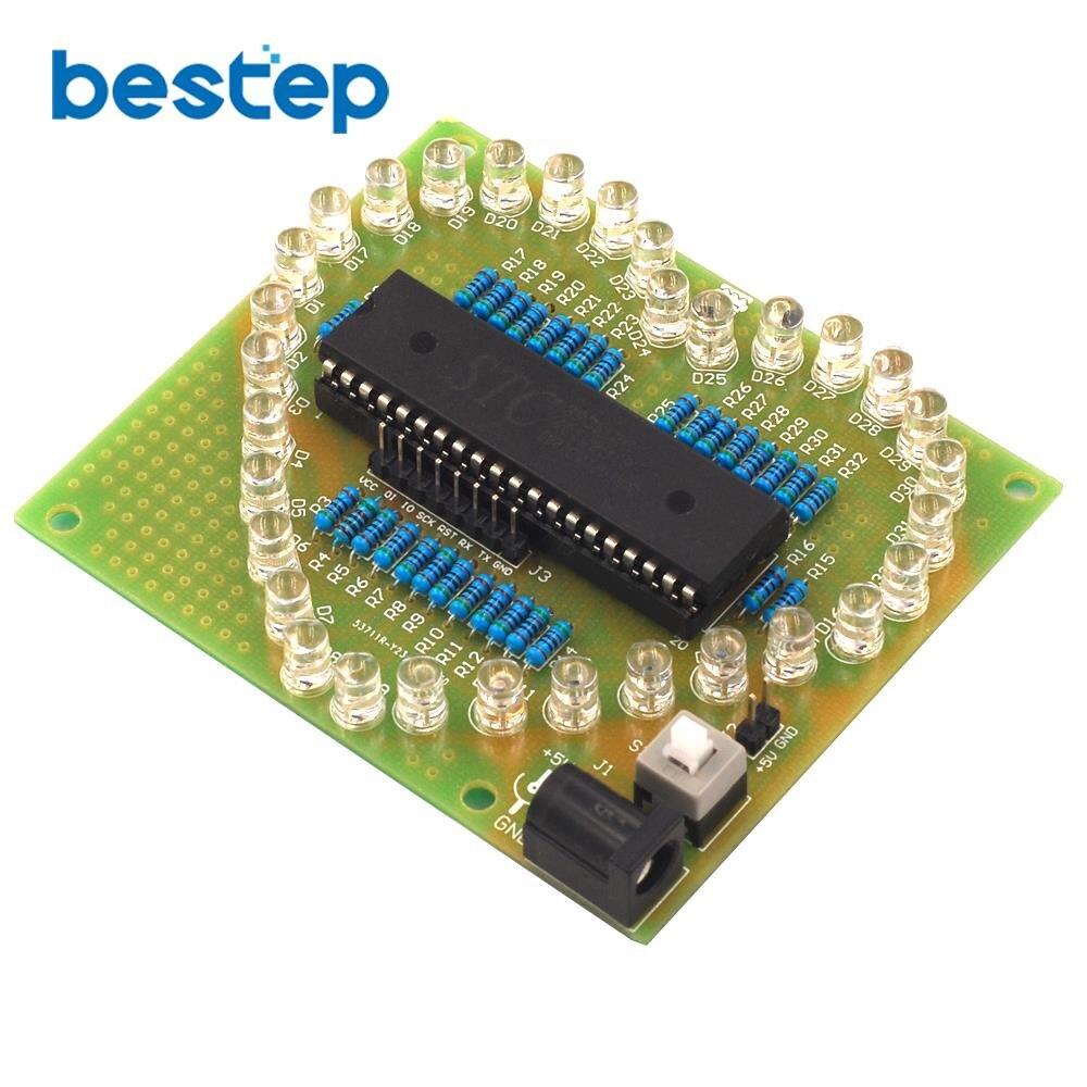 Colorful Glare 51 Single-chip Heart-shaped Water Light Kit LED Love Light Electronic Production DIY Send Program