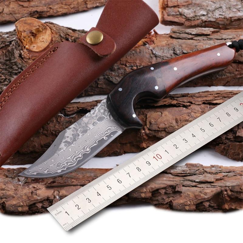 Livraison gratuite nouveau style damas acier lame fixe arêtes vives camping chasse tactique couteau de survie avec manche en bois
