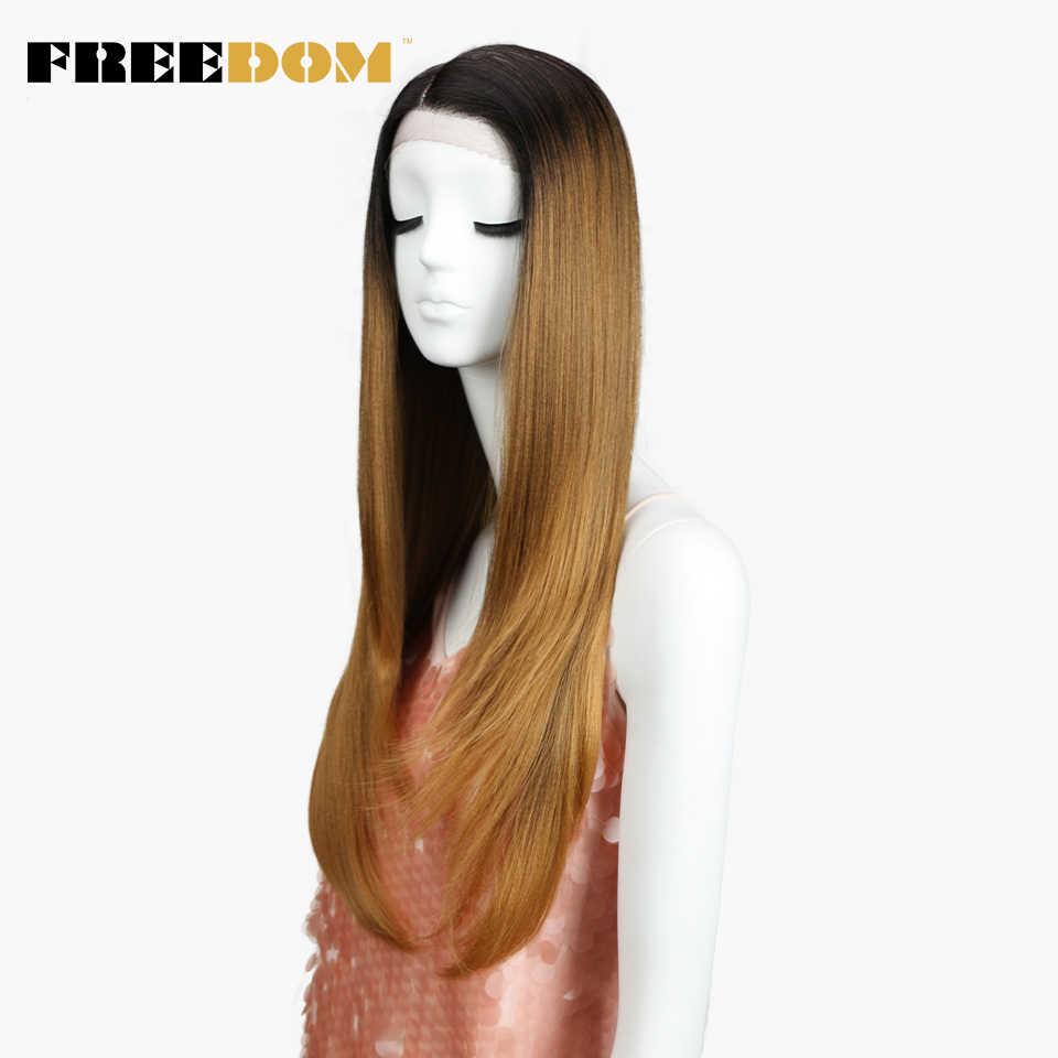 FREEDOM синтетические парики для черных женщин термостойкие прямые темные корни блонд кружевные передние парики натуральные волосы Косплей волосы
