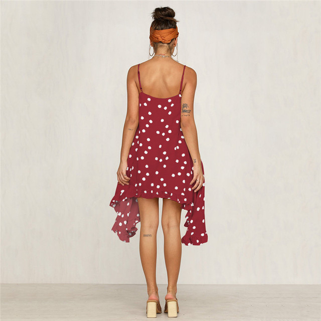 Sling Wave Holiday Print Irregular Chiffon Dress 2019 New Hot Summer Leisure Wave Print Sexy Hanging Bandwidth Pine Mini Dress