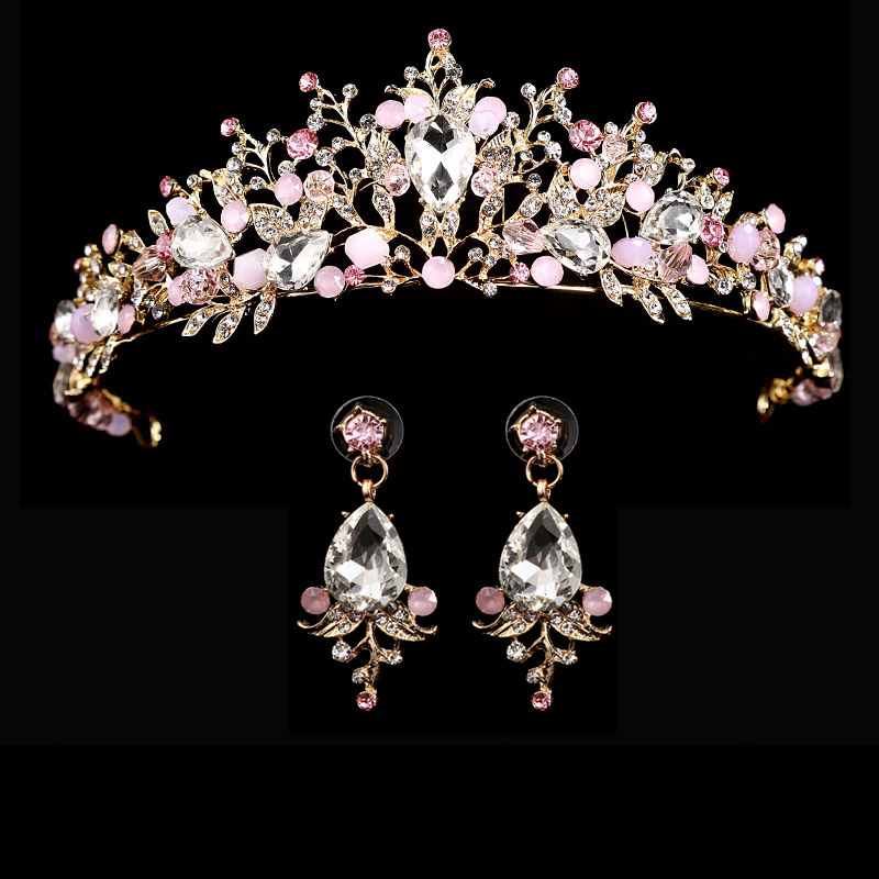 HTB1rHVwskKWBuNjy1zjq6AOypXaY Bridal Wedding Tiara Headband with Earrings