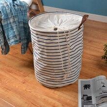 zakka cotton cloth storage foldable toy box beam port barrels storing clothes blue laundry basket laundry basket