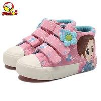 Girls Shoes 2016 New Autumn Kids Canvas Sneakers Floral Children Casual Shoes Denim Girls Princess Shoes