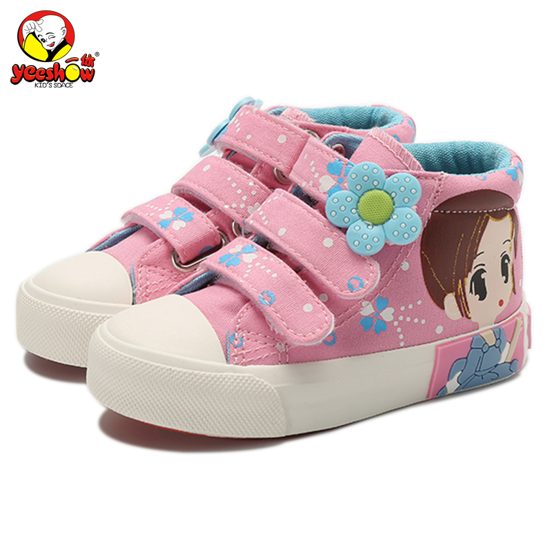 2019 New Spring Kids Canvas Sneakers Brand Niños Zapatos casuales Denim Girls Princess Shoes Botas planas de estudiantes