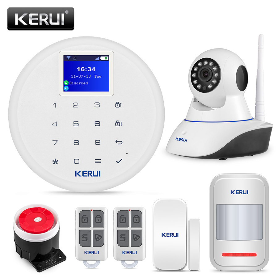 KERUI W17 GSM Wifi Wireless 433MHz Alarm Systems Home Burglar Security IOS Android APP Control Alarm Kits with 720P HD IP Camera free shipping etiger s3b wireless security alarm system with gsm transmitter 433mhz es cam2a wifi hd 720p day night ip camera