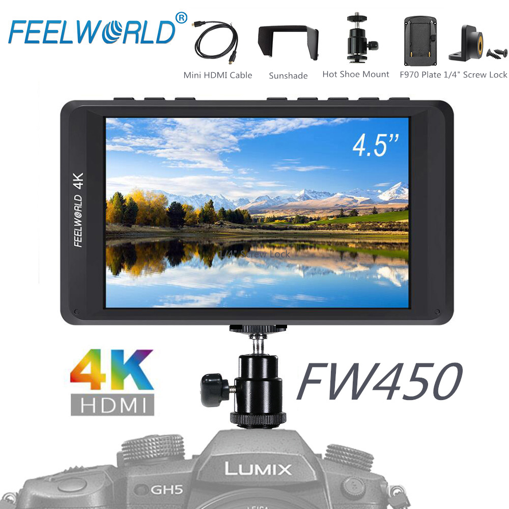FEELWORLD FW450 4.5IPS 4K DSLR Camera Field Monitor with HDMI Input Output HD 1280x800 Portable LCD Monitor forCamera Stablizer f450 4 5 inch ips 1280x800 hd 4k field lcd camera monitor with hdmi input output uhd peaking focus and other monitor accessory