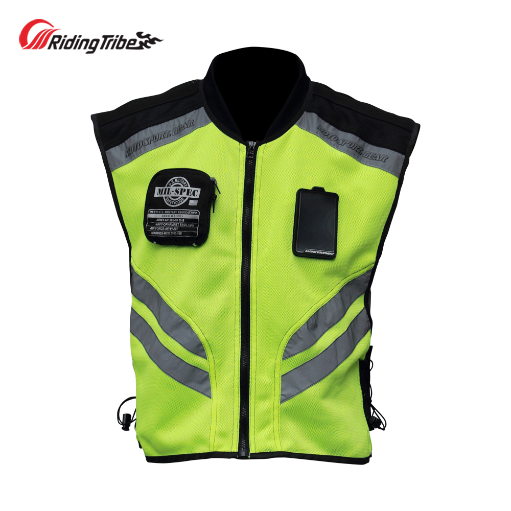 Motorcycle Jacket Reflective Vest High Visibility Night Shiny Warning Safety Coat for Traffic Work Cycling Team Uniform JK 22Jackets   -