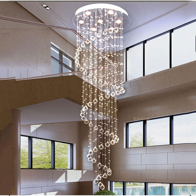lujo moderno grande grande escalera larga espiral araa de cristal accesorio de iluminacin de la escalera