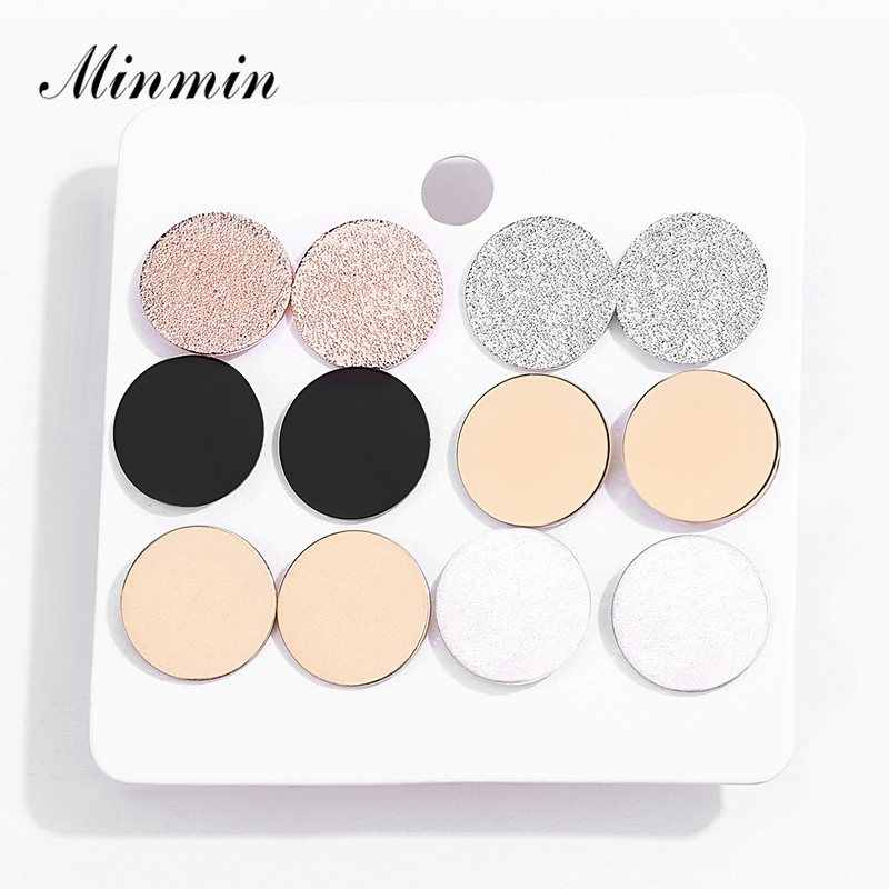 Minmin Simple 6 Pcs/Set Cute Round Stud Earrings Sets Gold Color Small Stud Earrings for Women Fashion Korean Jewelry New EH1494